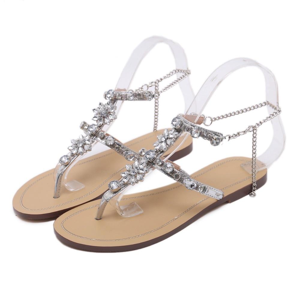 HTB16iaJq9BYBeNjy0Feq6znmFXaH 6 Color Woman Sandals Women Shoes Rhinestones Chains Thong Gladiator Flat Sandals Crystal Chaussure Plus Size 46 tenis feminino