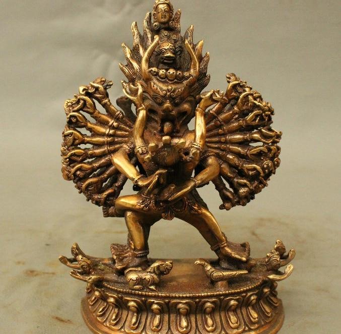 Chinese Bronze Tibetan Buddhism Yama Dharmaraja Yamantaka Yab-Yum Buddha Statue statue