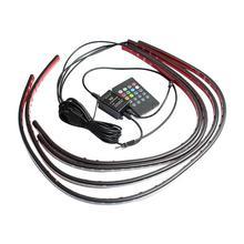 Vodool 4 шт. RGB Светодиодные ленты под автомобилей Tube Водонепроницаемый Гибкая днища Glow Системы неоновый звук активных эффектов свет комплект 12 В MGO3