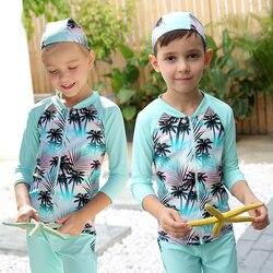 Crianças Maiô de Duas Peças Swimwear 3-10 Anos 50 UPF + UV Protectora Do Sol Meninos Meninas Mangas Compridas Zip up Sunsuit Guarda Erupção Swimwear