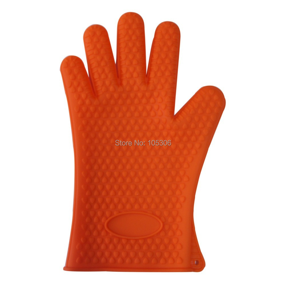 Heat Slip Resistant Silicone Microwave Oven Glove BBQ Oven Gloves Cooking Tools Baking Pot Holder Kitchen Accessories Orange in Oven Mitts Oven Sleeves from Home Garden