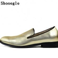 SHOOEGLE Men Dress Party Shoes Fashion Handmade Men's Flats Slip On Loafers Shoes Gold Wedding Shoes Banquet Shoes size 38-46 недорого