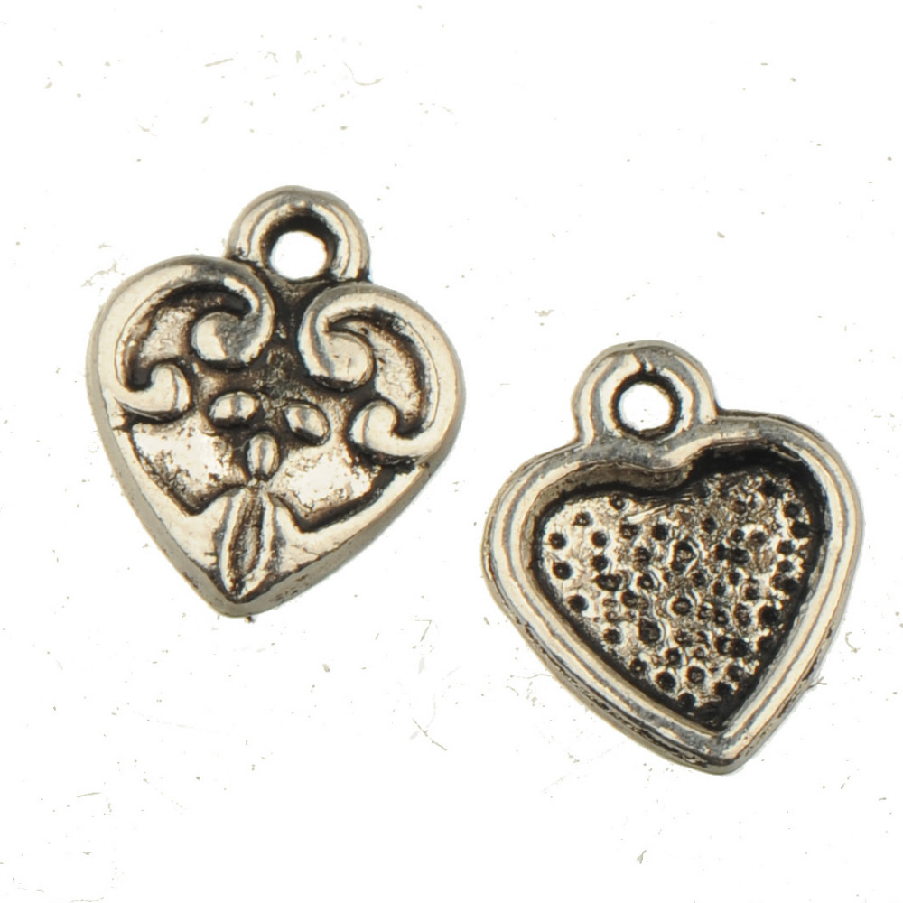 Heart Charms Bracelets Lover Jewelery Wholesale Vintage Silver DIY Valentines Day Craft Earring Hairpin Findings 13*10mm 100pcs