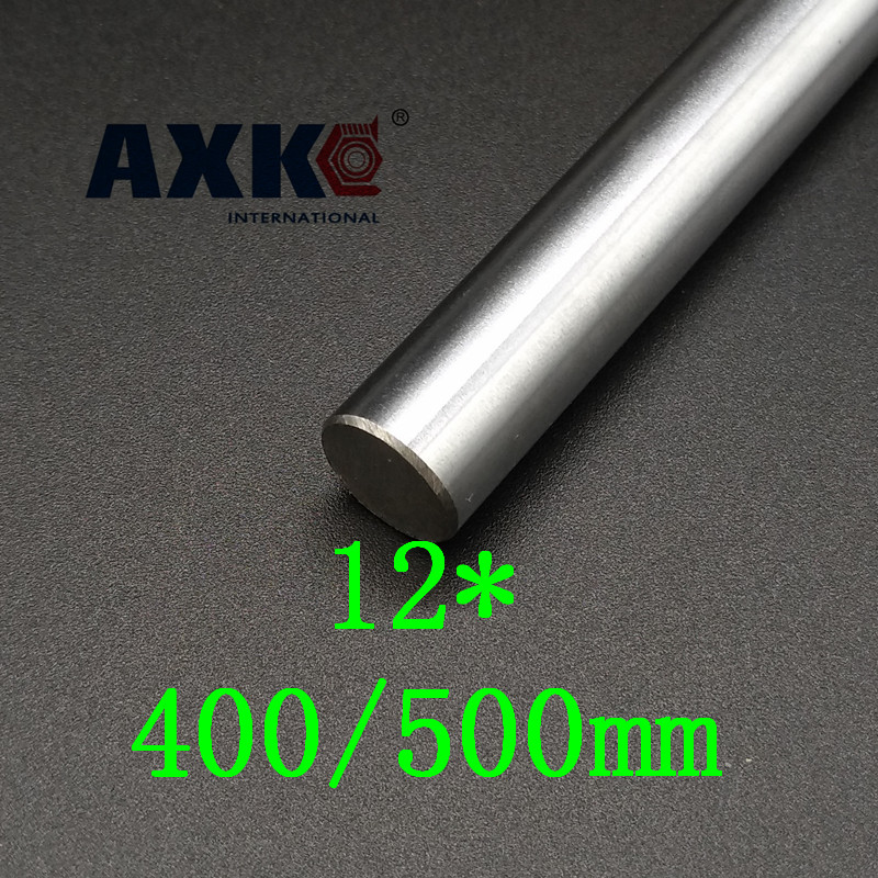 Axk 12mm 400mm / 500mm Each 2 Pcs Chrome Plated Cylinder Linear Rail Round Rod Shaft Linear Motion Shaft Cnc Parts диски helo he844 chrome plated r20