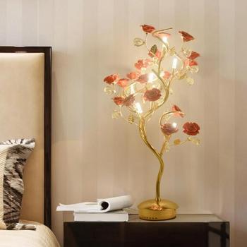 Hotel lobby Keramische rose Tafel Lampen Postmodern Keramische Bloem Lamp voor Woonkamer Slaapkamer Kristallen tafel licht Bruiloft verlichting