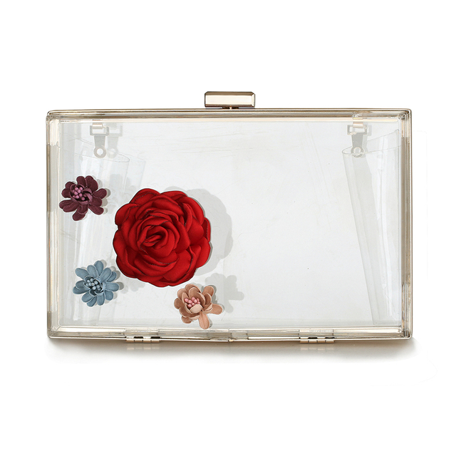 Clear Evening Bag Transparet Flower Day Clutch Women Acrylic Party Hand Bags 2017 New Small Clip Purse sac a main Case XA42H