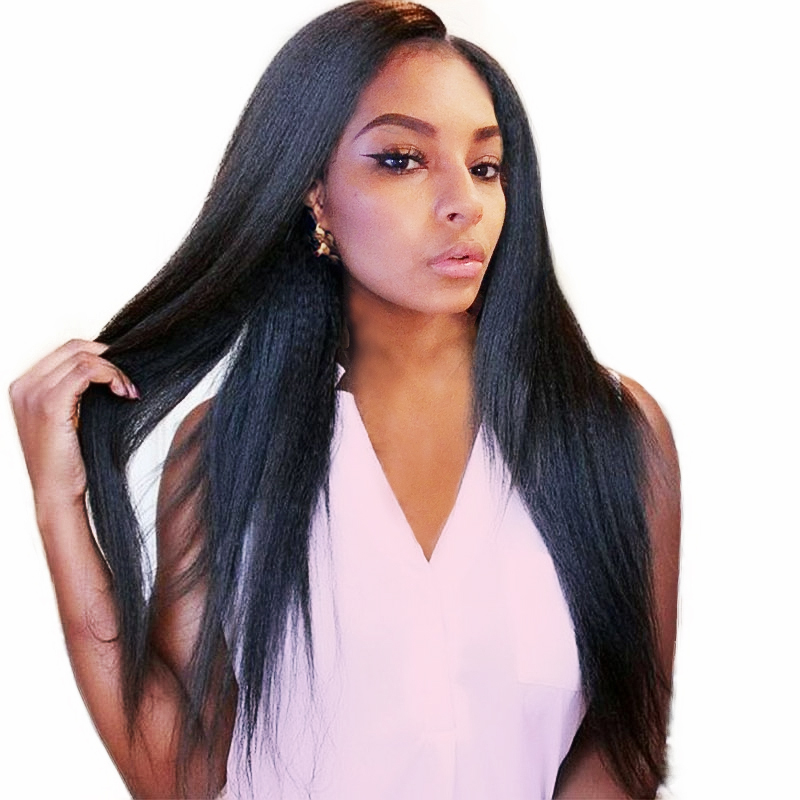 Italian Yaki Straight Brazilian Full Lace Human Hair Wigs For Black Women With Baby Hair Non-Remy Sunny Queen 10-24 Nature Color