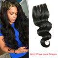 Queen hair encerramento malaio fechamento onda do corpo malaio cabelo humano lace closure branqueada knots onda do corpo do cabelo malaio tecer