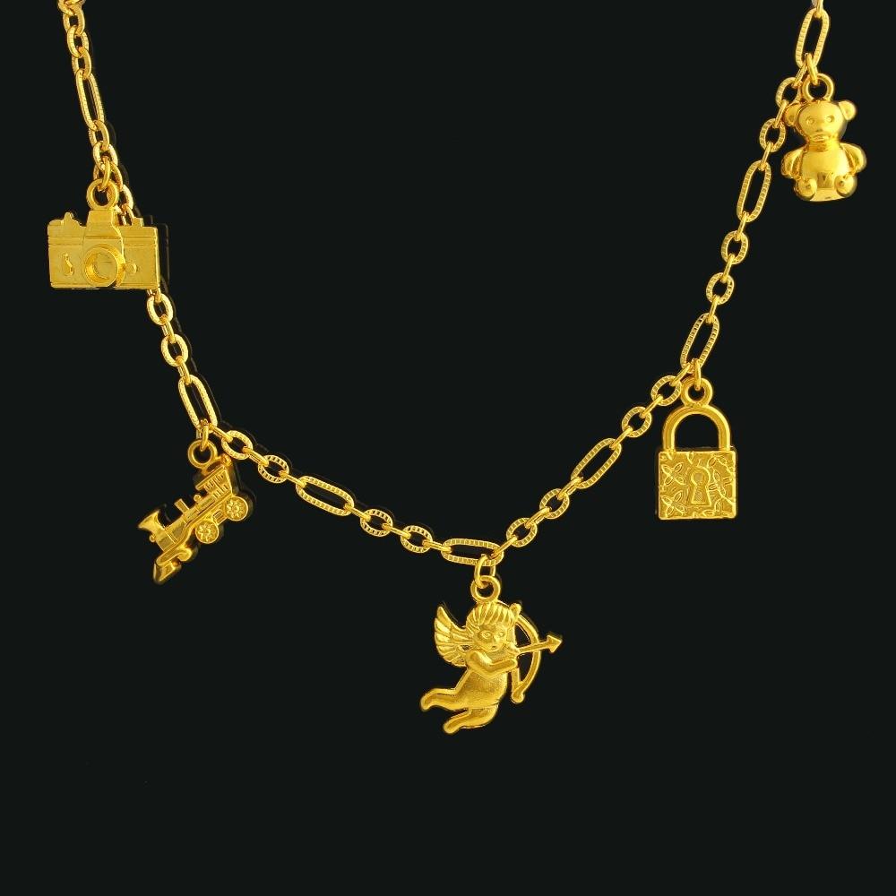 Ethiopian Key Hang Bracelet For Women Gold Color Fashion Jewelry Link Chain Bracelet Girls Gift