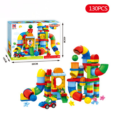 100/130/160Pcs Funny DIY Large Size Happy Pipeline Construction Building Blocks Educational Bricks Kids Toys Compatible Duplos new big size 40 40cm blocks diy baseplate 50 50 dots diy small bricks building blocks base plate green grey blue