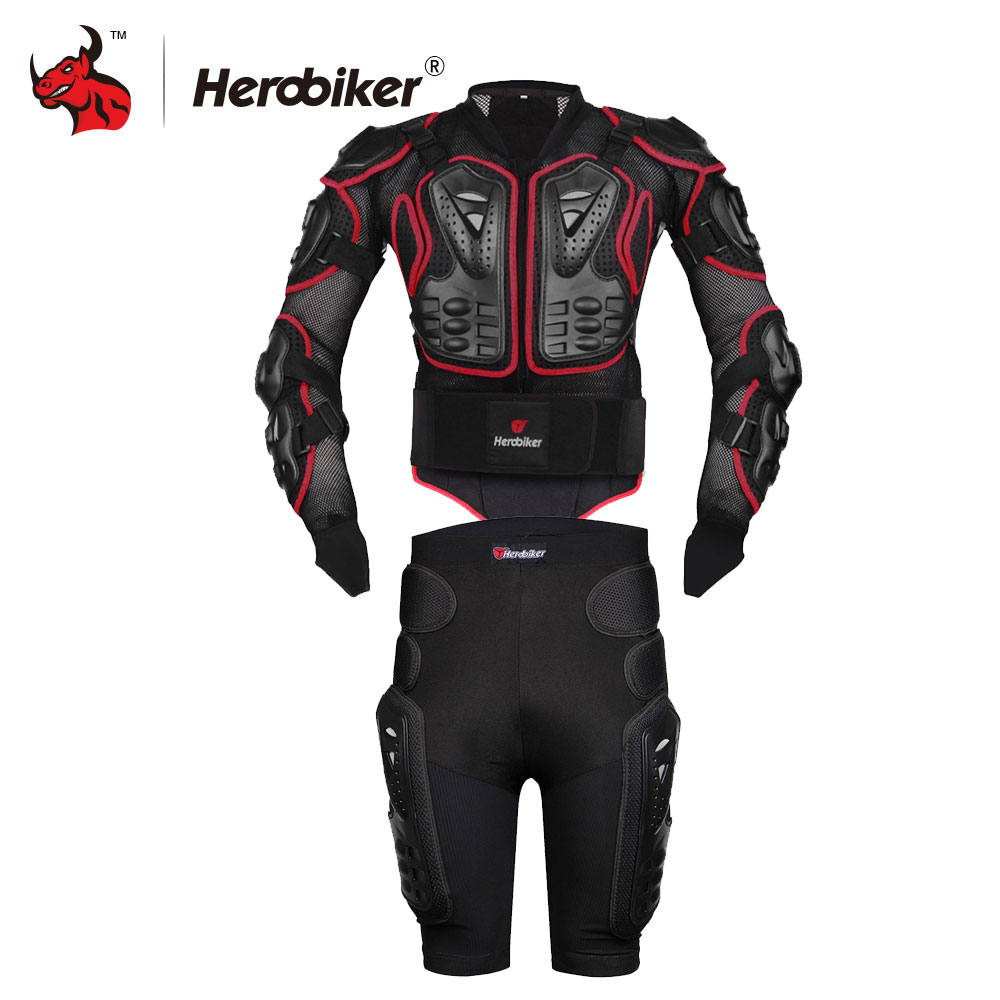 HEROBIKER Moto Motocross Racing Motorcycle Body Armor Protective Jacket+Gears Shorts Pants Motorcycle Jackets Red S-4XL herobiker black motorcycle racing body armor protective jacket gears short pants motorcycle knee protector moto gloves