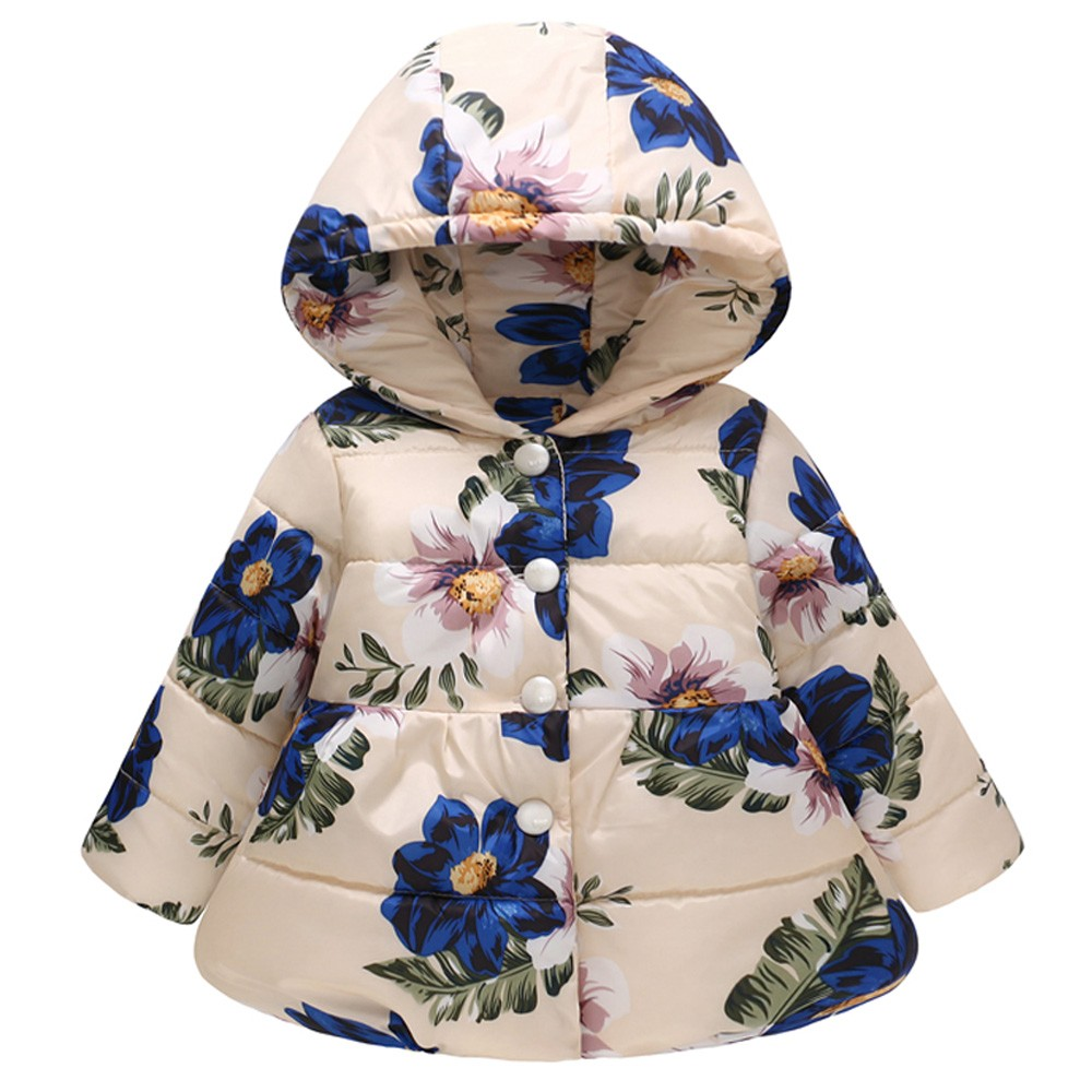 Toddler Baby Girls Boys Winter Floral Print Thick Warm Down Jacket Hooded Windproof Coat Outwear Manteau Fille Casaco Menina 10