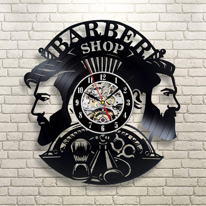 Barber Shop Wall Clock Modern Barbershop Decoration Vinyl Record Wall Clock Hanging Hairdresser Wall Watch For Barber Salon