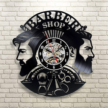 Barber Shop Wall Clock Modern Barbershop Decoration Vinyl Record Wall Clock Hanging Hairdresser Wall Watch for Barber Salon(China)