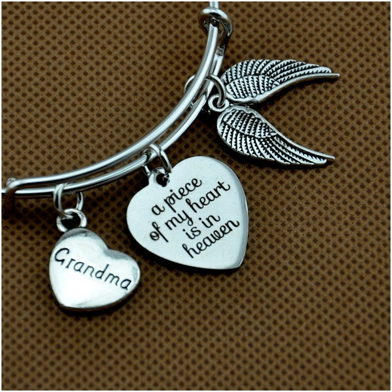 Angel Wing Bracelet Memorial Bangle A Piece Of My Heart Is In Heaven Sympathy Gift Loss Of Mom Daughter Grandpa Dad Son