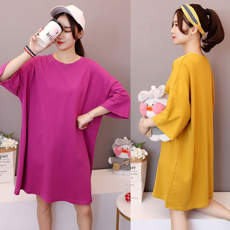 Spring and summer models solid color round neck t-shirt female college wind long loose large size short-sleeved shirt