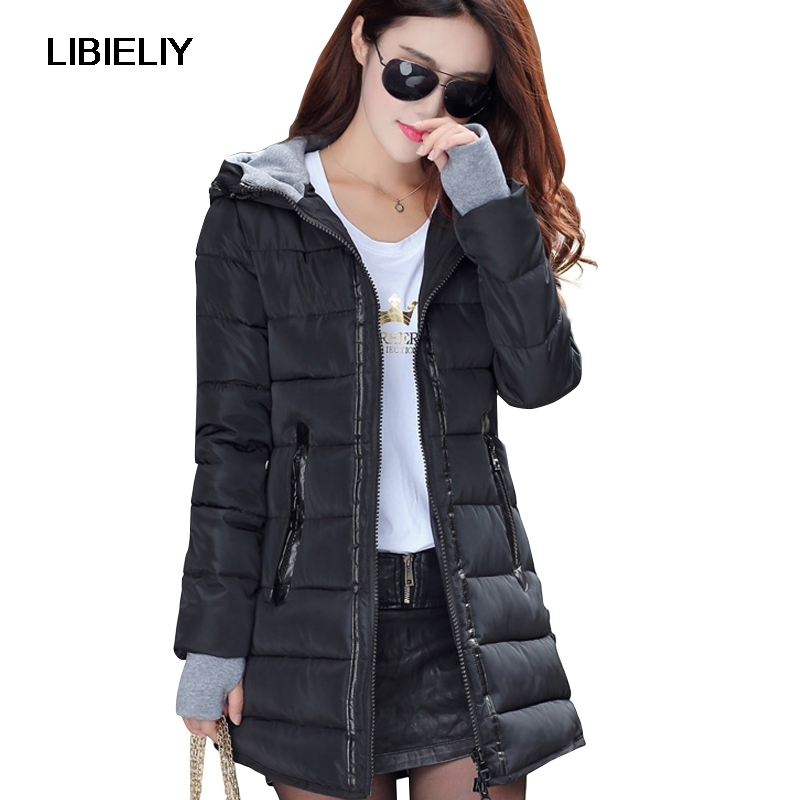Nice Women Winter Hooded Warm Coat Slim Plus Size 2XL Candy Color Cotton Padded Jacket Female medium-long   Parka   Jaqueta Feminina