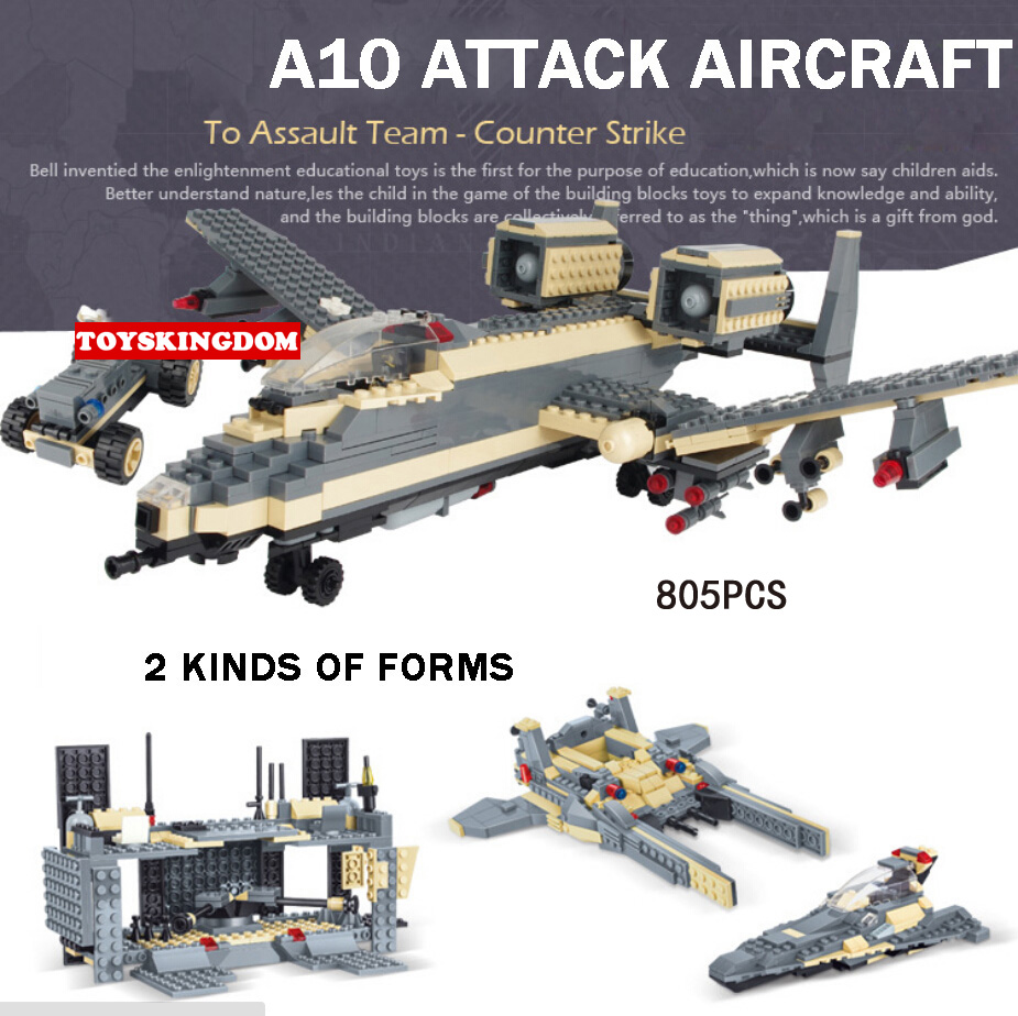 Hot modern military WW2 Counter Strike A10 aircraft fighter building block warship army figures base bricks toys for kids gifts