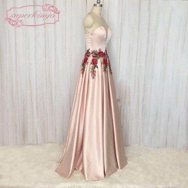 Online Shop Superkimjo Embroidery Lace Prom Dresses Long 2018 Pink