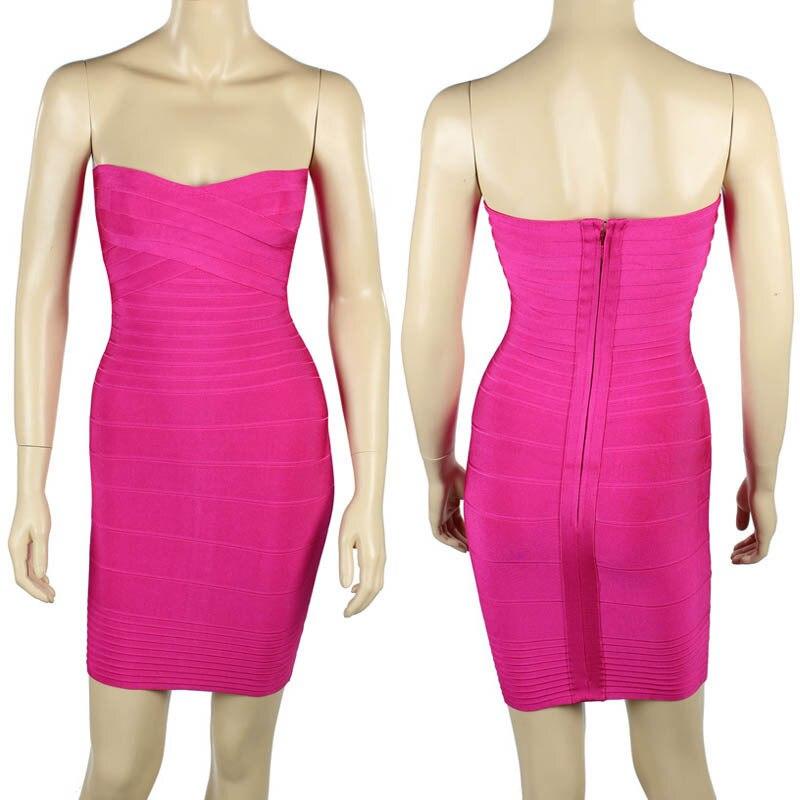Ким Кардашьян, без бретелек, с открытыми плечами,, сексуальное женское платье, вискоза, бодикон, опт, дешевые мини обнаженные платья - Цвет: Rose Red