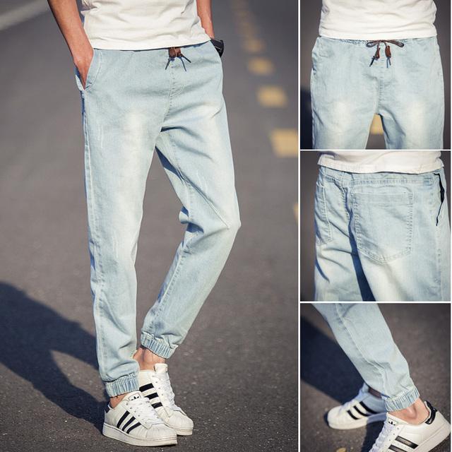 B0333 verdaderos vaqueros nuevo 2016 mens pantalones vaqueros holgados moda cordón primavera blue jeans hombres jean homme