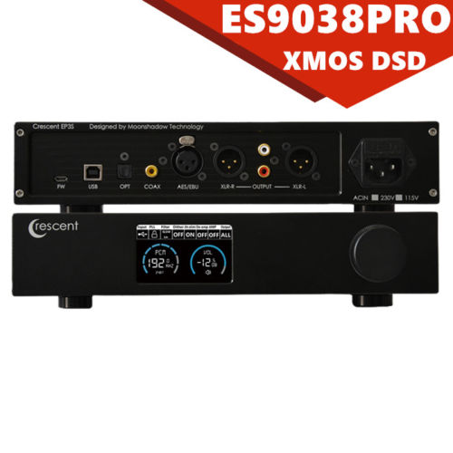 Full-balanced ES9038PRO USB DAC XMOS 32bit/384K DSD256 HiFi Audio Decoder Black yjhifi new audio decoder dsd1796 xmos u8 otg 384k 32bit usb dac hifi headphone amp soundkarte