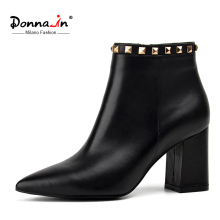 Donna-in 2017 spring new collections pointed toe thick heel woman boots rivet short boots genuine leather ladies shoes
