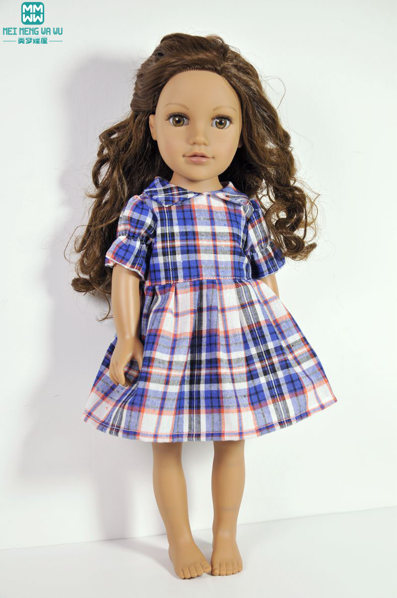 Doll Kläder Girl Dress för 18 tums Dolls Girl Doll Plaid Dress prinsessa klänning