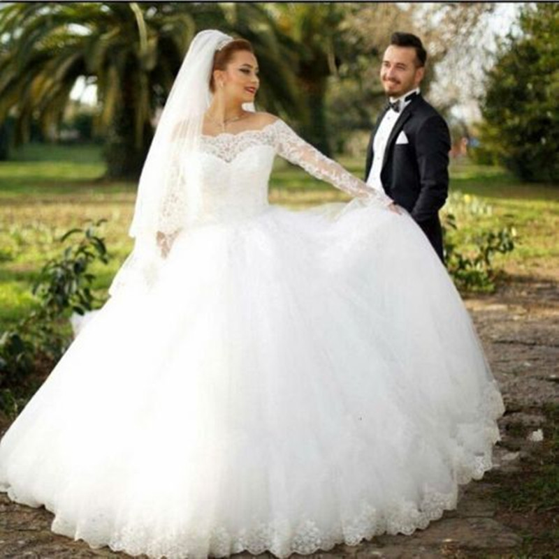 Long Sleeve Off Shoulder Ball Gown Princess Wedding Dresses Lace ...