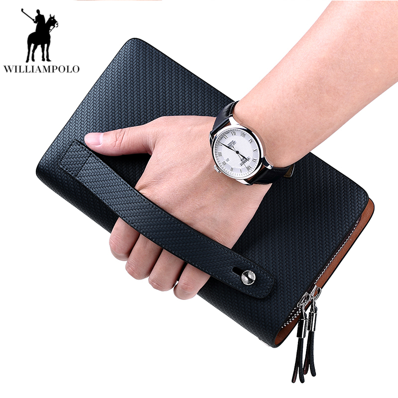 WILLIAMPOLO 2018 100% Cow Leather Business Solid Zipper Long section Mens Clutch Wallet Male Double Zipper Handbag Wallet PL170 inventory accounting