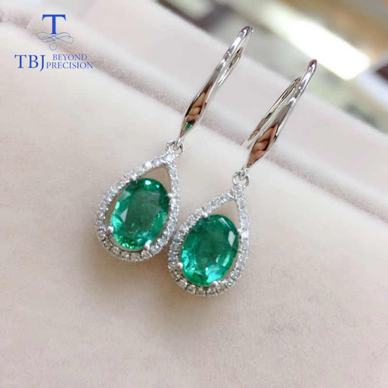 TBJ,18k gold natural emerald hook earring with natural diamond fine jewelry for women