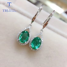 TBJ,18k gold natural emerald hook earring with natural diamond fine jewelry for women noble jewelry emerald cut 6x8mm solid 18k two tone gold natural diamond tanzanite pendants jewelry for women wp070