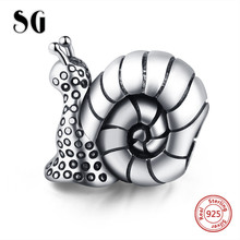 SG New Arrival animal charm snail Beads 925 Sterling Silver Fit pandora bracelets diy Jewelry Accessories making gifts