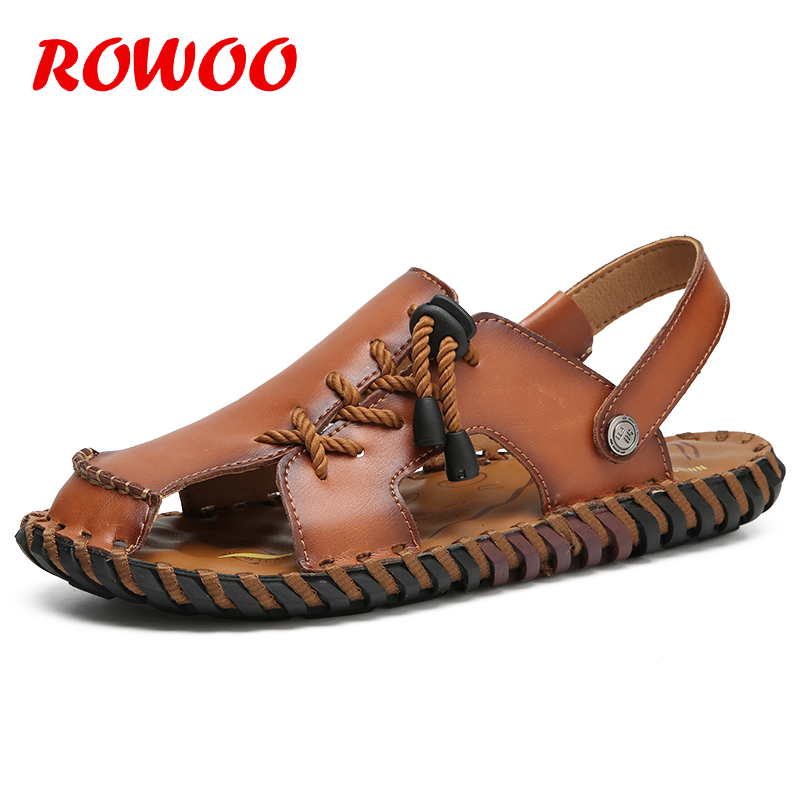 Men Genuine Leather Sandals Outdoor 2018 Summer Handmade Shoes Slippers for Male Breathable Casual Footwear Slip On Sandals