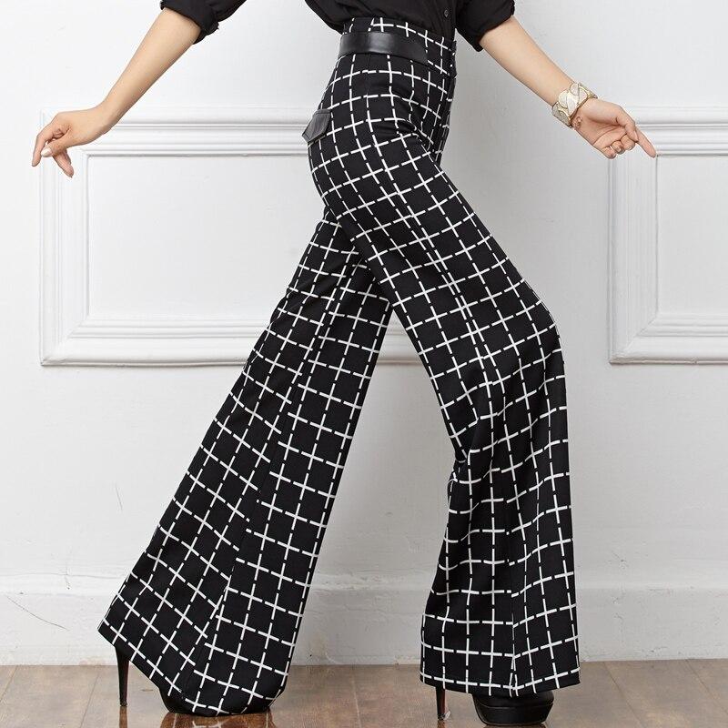 Wome Noir Lady Élastique Qualité Mode Taille De Plaid Pantalon Haute Vêtements Jambe Femmes Large Coton Tricoté Office wEaqBx1w