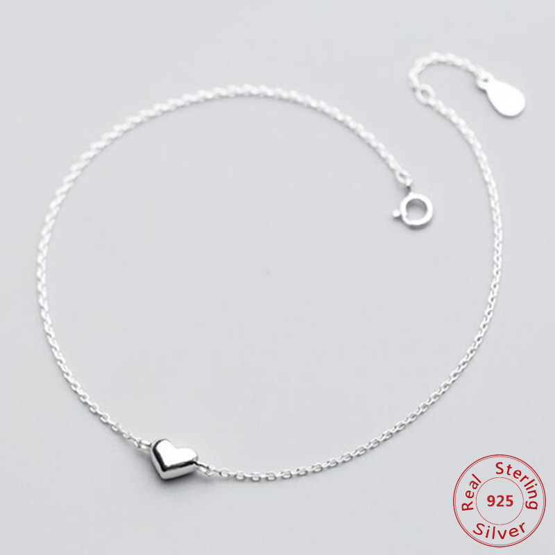 Authentic925 Sterling Silver Romantic Small Heart Charm Anklets for Women S925 Ankle Bracelet Adjustable Length