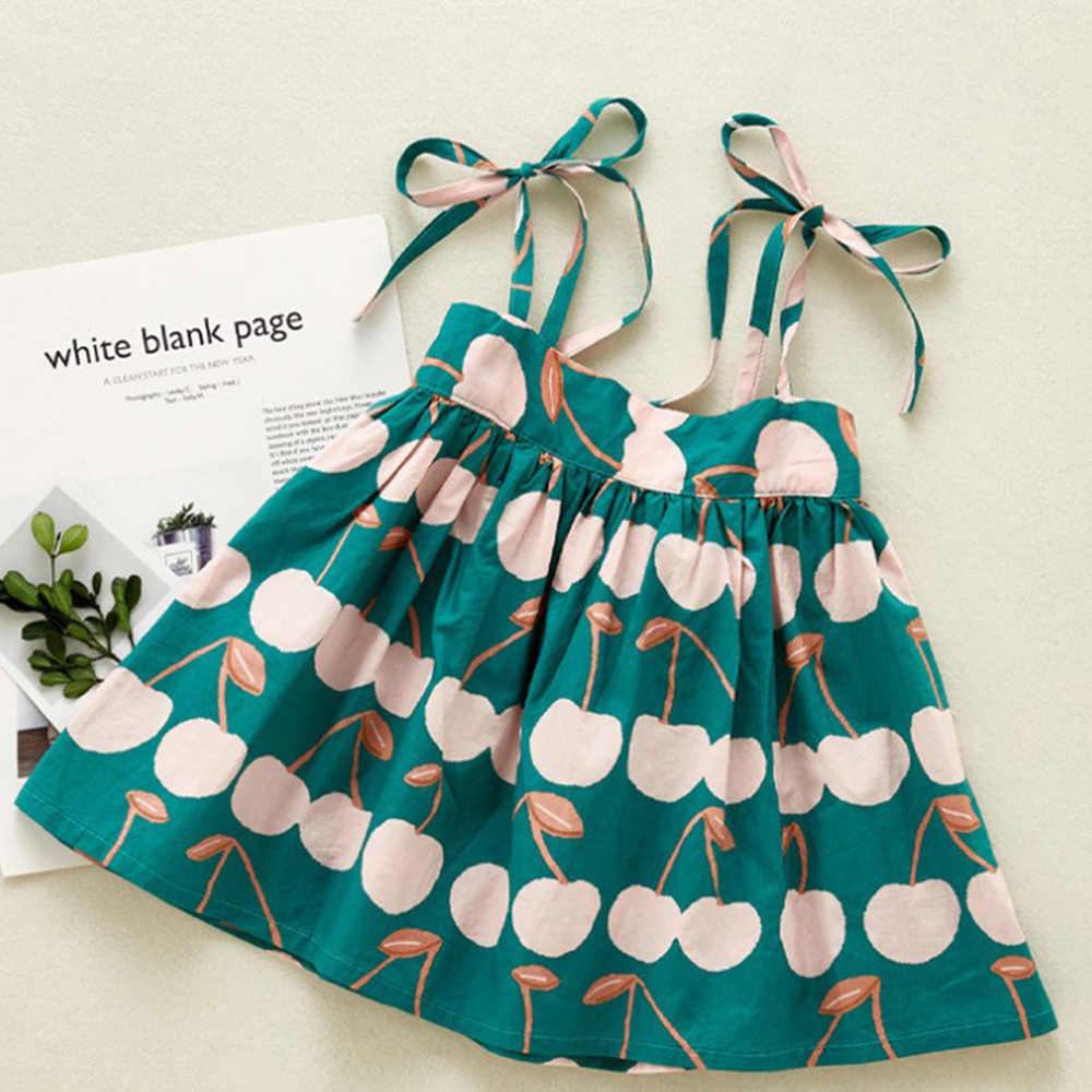 Anak Gadis Sling Gaun Musim Panas Pakaian Anak-anak Perempuan Bayi Katun Tanpa Lengan Dicetak Putri Dress 1-6 Tahun