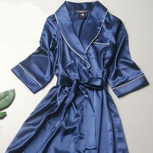Image 3 - R202 여성 실크 새틴 웨딩 신부 들러리 가운 기모노 목욕 잠옷 가운 대형