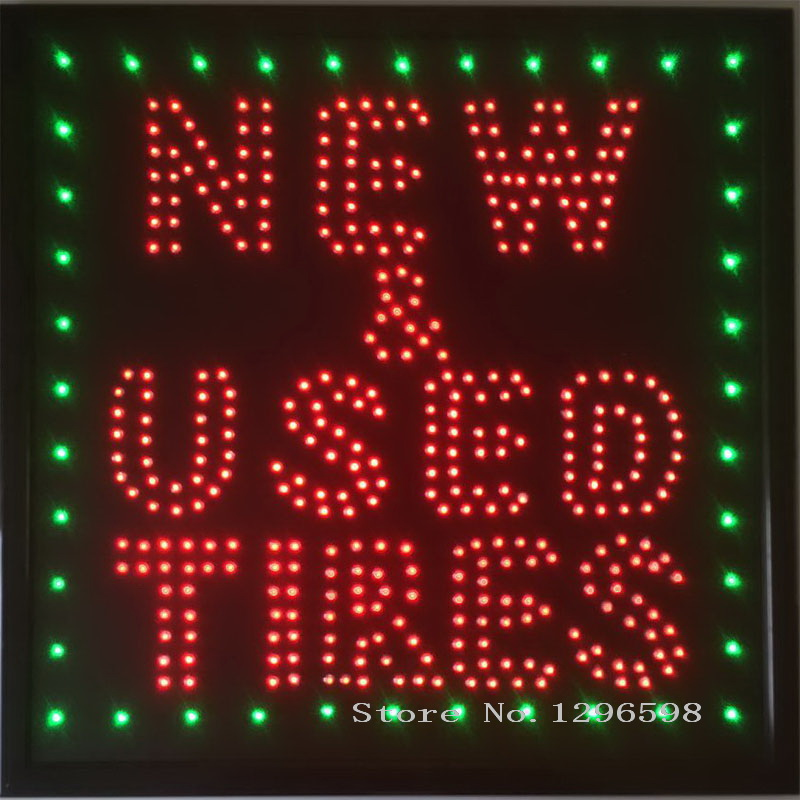 2017 Led New&Used Tires business store open neon sign 19x19 Inch hot sale graphics 15mm pixels indoor car used of business