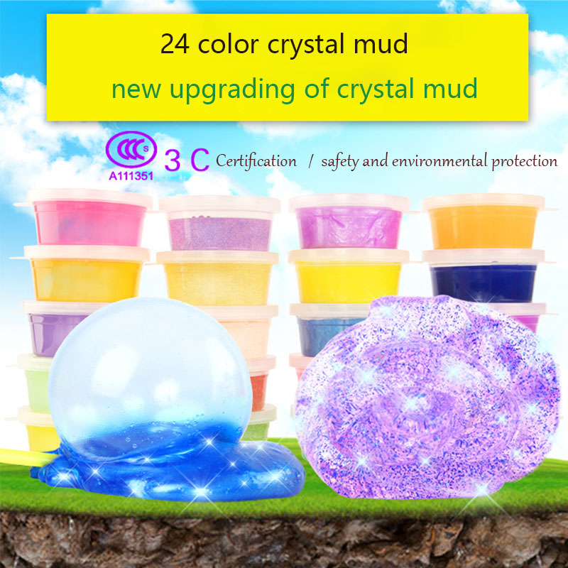 Colorful crystal colored clay non-toxic jelly clay 24 color luminous soil DIY slime envi ...