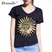 Donnalla Women T Shirt Summer 2017 Brand New Women Casual Cotton Short Sleeve T Shirt Women