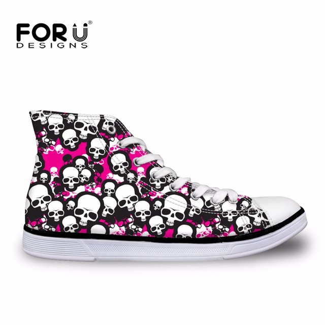 Summer Women High Top Canvas Shoes Skull Flat Shoes Casual Walking Jogginh Shoes  High Quality Female