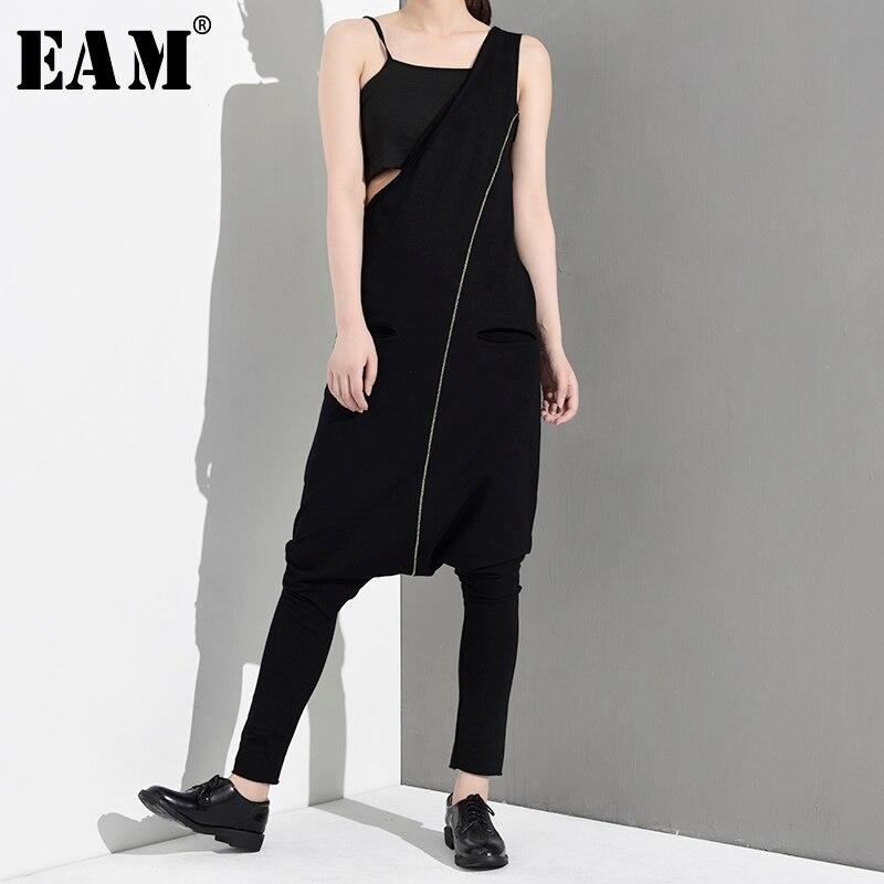 [EAM] 2019 New Autumn Winter High Waist Ling Split Joint One Shulder Loose Long Pants Women Jumpsuit  Fashion Tide LA9150