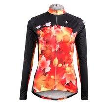 Nuevas Mujeres Libres Del Envío de Las Hojas de Otoño de manga Larga Camisetas de Ciclismo Transpirable Ciclismo ropa Ropa de Ciclo Rojo Tamaño XS-6XL