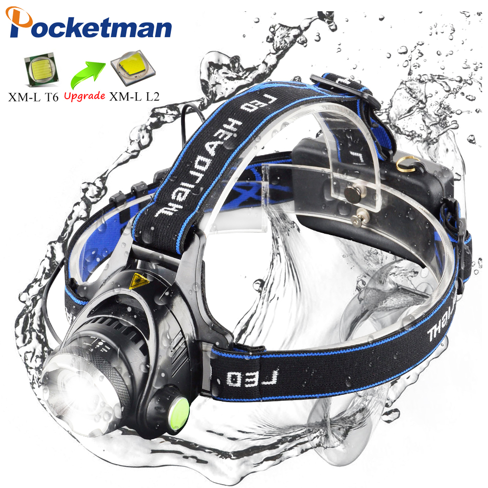 LED headlamp fishing headlight 10000LM T6/L2 3-Modes Zoomable lamp Waterproof Head Torch flashlight Head lamp by 18650 battery
