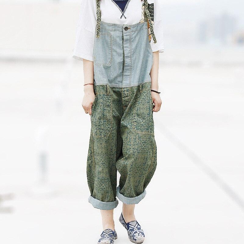 Vintage Patchwork Palazzo   Capri   Pantalon Taille Haute Femme Broek Vrouwen Denim Loose Boyfriend Jeans   Pants   for Women Trousers