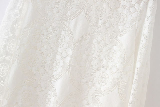 Loose white lace petal sleeve hollow out see through oversized top