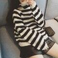 Женщины свитер 2015 осень зима корейский опрятный стиль полосы водолазка широкий свитера женский трикотаж