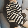 Women Sweater 2015 Autumn Winter Korean Preppy Style Stripes Turtleneck Loose Sweater Female Knitwear