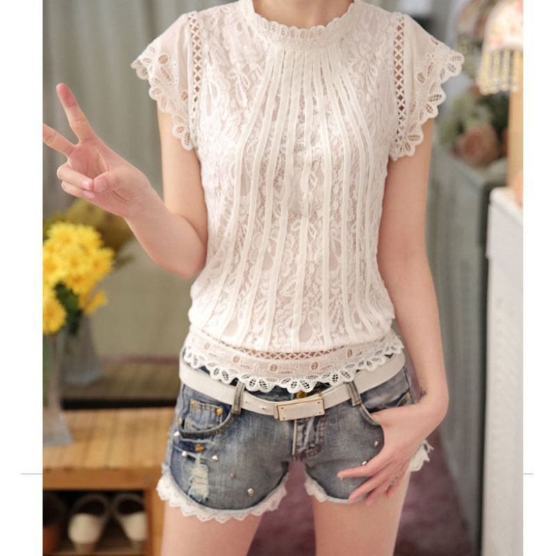 2019 New Style Summer Female Fashion Hollow Out Lace-top Blouse Women's Short Sleeve Blouse Shirts